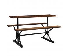 vidaXL Mesa de bar con bancos madera maciza reciclada 180x50x107 cm