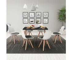 vidaXL Conjunto de mesa de comedor y sillas 7 piezas blanco y negro