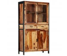 vidaXL Aparador con vitrina de madera maciza de sheesham 100x40x175 cm
