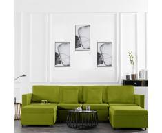 vidaXL Sofá cama extraíble de 4 plazas tela verde