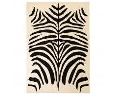 vidaXL Alfombra moderna con estampado de cebra beige/negro 80x150 cm