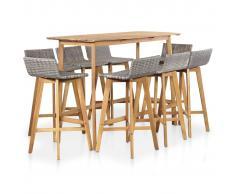 vidaXL Set de comedor de jardín 9 piezas madera maciza de acacia