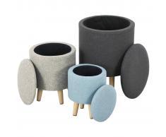 vidaXL Taburetes almacenamiento 3 pzas tela gris oscuro beige y azul