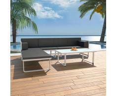 vidaXL Set de muebles de jardín 4 piezas y cojines aluminio negro