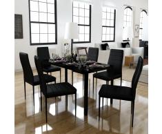 vidaXL Conjunto de mesa comedor siete piezas negro