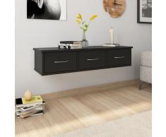 vidaXL Estantes con cajones de pared aglomerado negro 90x26x18,5 cm