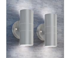 vidaXL Lámpara de pared exterior 2 uds acero ascendente/descendente