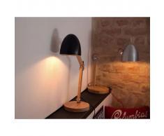 Beliani Lámpara de mesa, Iluminación de noche, Madera y aluminio, Negro, VELE