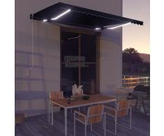 vidaXL Toldo retráctil manual con LED gris antracita 450x300 cm
