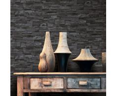vidaXL Rollos papel pintado no tejido 4 uds ladrillos negro 0,53x10 m