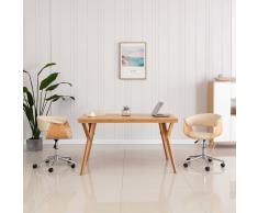 vidaXL Silla de comedor giratoria madera curvada cuero sintético crema