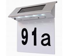 vidaXL Lámpara solar LED con el número de casa acero inoxidable