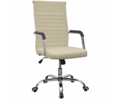 vidaXL silla de oficina de cuero artificial 55x63 cm color crema