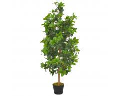 vidaXL Planta artificial árbol de laurel con macetero 120 cm verde