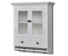 vidaXL Armario de pared para la cocina, madera blanca, con puerta cristal