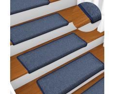 vidaXL Alfombras de peldaños de escalera 15 uds azul 65x25 cm