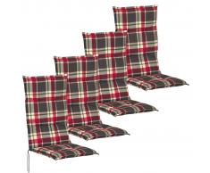 vidaXL Cojín para sillas de jardín 4 unidades 117x49 cm rojo y verde