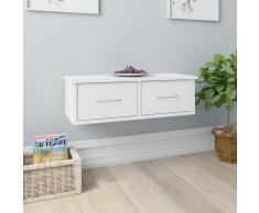 vidaXL Estante de cajones pared aglomerado blanco brillo 60x26x18,5 cm