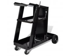 vidaXL Carro de soldadura negro con 3 estantes organizador de taller
