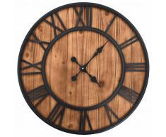 vidaXL Reloj de pared vintage movimiento cuarzo madera metal 60 cm XXL
