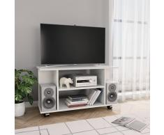 vidaXL Mueble de TV con ruedas aglomerado blanco brillante 80x40x40 cm