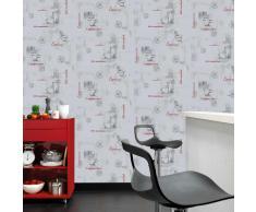vidaXL Rollos de papel pintado no tejido 4 uds café color blanco