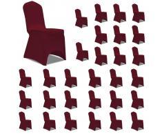 vidaXL Funda de silla elástica 30 unidades color burdeos