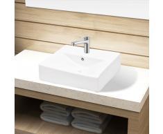 vidaXL Lavabo de cerámica con agujero para grifo/desagüe blanco rectangular