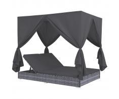 vidaXL Tumbona cama con cortinas de ratán sintético gris