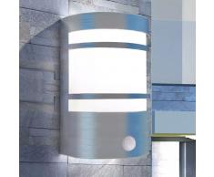 vidaXL Lámpara de pared para exterior con sensor de acero inoxidable