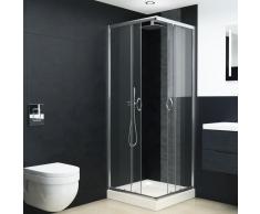 vidaXL Mampara con plato de ducha y vidrio de seguridad 80x80x185 cm