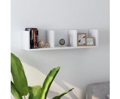 vidaXL Estante de pared para CD aglomerado blanco 75x18x18 cm