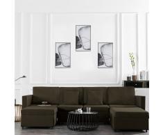 vidaXL Sofá cama extraíble de 4 plazas tela gris topo