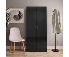 vidaXL Mueble zapatero de aglomerado negro brillante 80x35,5x180 cm