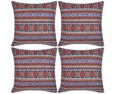 vidaXL Fundas de cojín estampado azteca lona multicolor 50x50cm 4 uds.