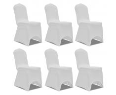 vidaXL Set de 6 Fundas ajustadas para sillas, color blanco
