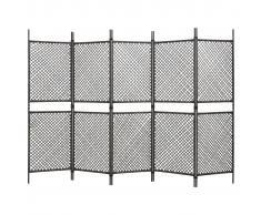 vidaXL Biombo de 6 paneles ratán sintético marrón 300x200 cm