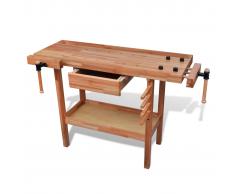 vidaXL Banco de carpintería madera con cajon