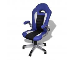 vidaXL Silla Azul De Oficina De Cuero Artificial Diseño Moderno