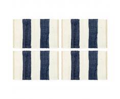 vidaXL Manteles individuales 4 uds Chindi a rayas azul blanco 30x45 cm