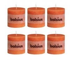 Bolsius Velas rústicas 100x100 mm 6 unidades naranjas