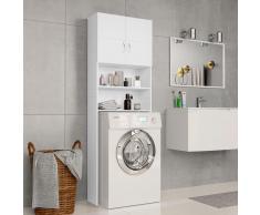 vidaXL Armario de lavadora aglomerado blanco 64x25,5x190 cm