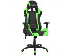 vidaXL Silla de escritorio reclinable Racing de cuero artificial verde
