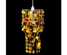 vidaXL Lámpara colgante de lentejuelas doradas de cristal 26 x 56 cm