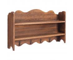 vidaXL Perchero de pared de madera marrón 50x10x30 cm