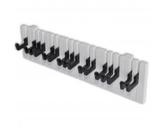 vidaXL Perchero de pared forma de teclado de piano 16 ganchos negros