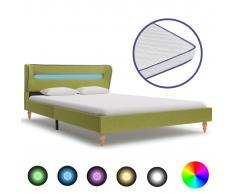 vidaXL Cama con LED y colchón viscoelástico tela verde 140x200 cm