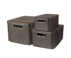Curver Cestas de almacenaje con tapa Style 3 unidades marrón 240653