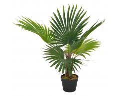 vidaXL Planta artificial palmera con macetero 70 cm verde
