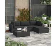vidaXL Set muebles de jardín y cojines 5 piezas ratán sintético negro